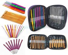 Plastic Aluminum Handle Crochet Hook Bamboo Knitting Knit Needle Weave Yarn Set