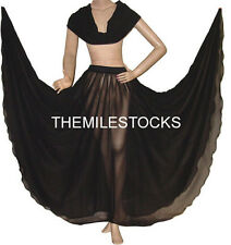 TMS BLACK Full Circle Skirt + Veil Belly Dance Costume Tribal Gypsy JUPE VOILE