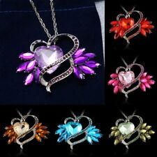 Hot Sale Silver Plated Crystal Rhinestone Heart Charm Pendant Necklace