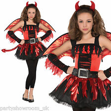 TEEN Dare Devil Fancy Dress Girls Halloween Costume + Tights