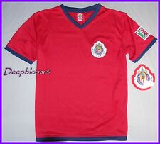 CHIVAS D GUADALAJARA JERSEY SHIRT SOCCER OFFICIAL BOYS 10 12 14 16 18 20 RED NEW