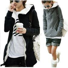 Womens Fleece Long Sleeve Coat Hooded Hoodie Jacket Sweater Outwear Parka Top