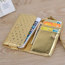 Gold Grid PU Leather Wristlet Purse Wallet Case Cover For Multi Phone Model 4.0