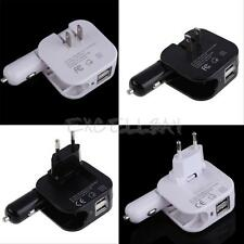 Universal 2In1 Combo Car and Home Travel Wall Charger W/ Two 2.1A USB Ports E0Xc