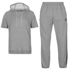Lonsdale Mens Gym Tracksuit Blue Charcoal Sleeveless Zip Hoody & Sweat Pants