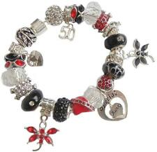 LADIES CHARM BRACELET RED BLACK SILVER  BIRTHDAY & MESSAGE CHARM PRESENT BOXED