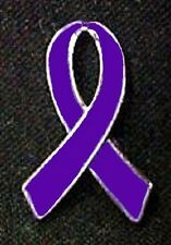 Purple Awareness Ribbon Pin Thyroid Cancer Pancreatic Epilepsy Many Cancer Cause