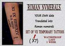 ROMAN NUMERALS tattoo your own date numbers  memorial WATERPROOF LAST 1WEEK +