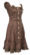 BEAUTIFUL BROWN COTTON CORSETTED LACE DRESS S M L XL STEAMPUNK WENCH MEDIEVAL