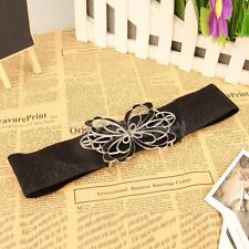 Charming Shiny Butterfly Elastic Wide Waistband Waist Belt for Woman Girl E0Xc