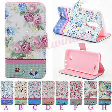 Vogue Floral Bling Crystal Flip PU Leather Wallet Stand Case Cover For LG Phones