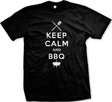 Keep Calm and BBQ Grill  Master BBQ Bar-B-Que Charcoal Propane Mens T-shirt