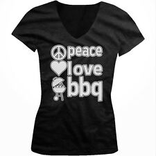 Peace Love BBQ Bar-B-Que Grilling Cookout Grill Master Juniors V-neck T-shirt