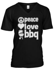 Peace Love BBQ Bar-B-Que Grilling Cookout Grill Master Mens V-neck T-shirt