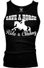 Save A Horse Ride A Cowboy Country Rodeo Music Funny Lyrics Boy Beater Tank Top