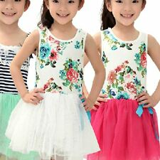 2-6Y Baby Girls Flowers Party Princess Tulle Tutu Dress Child Bowknot Skirts ARw