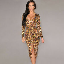 Sexy Womens Front Slit V-Neck Leopard Print Party Evening Cocktail Bodycon Dress