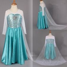 Blue Girls Disney Frozen Dresses Princess Elsa Cosplay child Kits Long Cape