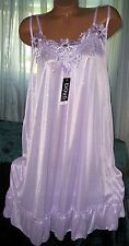 Semi Sheer Nightgown Slip Chemise 1X 2X 3X Silky Plus Size Purple Lavender Gown