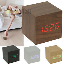 Voice Control Cube USB/AAA Wood Wooden LED Alarm Digital Desk Clock Thermometer