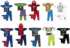 BOYS KIDS NOVELTY SPIDERMAN BATMAN SUPERMAN CAPE PYJAMAS PJS Age 2/3 3/4 5/6 7/8