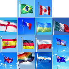 Large 90x150cm 3x5ft National Flags With Grommets USA England Australia & MORE