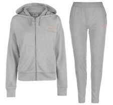 Lonsdale Tracksuit Ladies Grey Gold Zip Sport Hoody & Bottoms Sizes 8 - 16