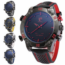 Kitefin SHARK LED Digital Date Day Alarm Leather Military Sport Men Wrist Watch