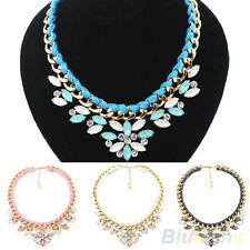 WOMENS PARTY JEWELRY BRAIDED ROPE CHAIN STATEMENT SHORT NECKLACE COLLAR PENDANT