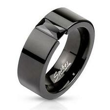 Simulated Black Diamond Mens Womens His Hers 6mm Wedding Band Ring