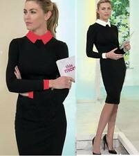 Womens  Office Business Formal Tunic Wear To Work Stretch Pencil Dress Blouse