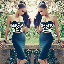 Hot Womens Sexy Strapless Two Piece Bralet Bustier Top&Bodycon Bandage Dress Set