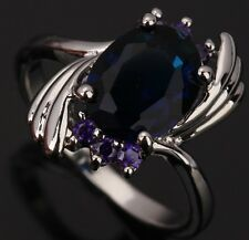 Sapphire blue Topaz Amethyst Gemstone LOVELY Silver Rings US#Size5 6 7 8 9 T0462