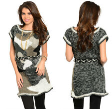 FASHION WOMENS CASUAL KNIT BELTED TOP BLOUSE SHIRT TUNIC SWEATER DRESS S-L