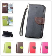 Leaf Style Credit Card Flip Wallet Leather Case TPU Cover Book For Various Phone