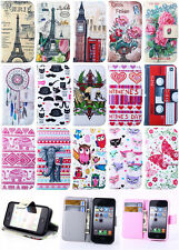Flip Printed ID Card Stand Leather Case TPU Soft Cover For Apple Samsung Phones