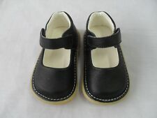 New Black Leather Squeaky Shoes Toddler Baby Girl Size 3 4 5 6 7 + Xtra Squeaker