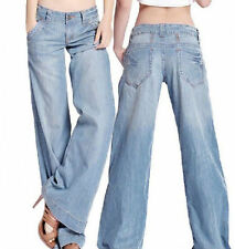 Womens Sexy Demin Jeans Bell Bottom Wide Leg Loose Thin Pants Trousers Plus Size