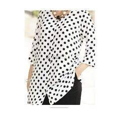 ULLA POPKEN infinite dots print button TUNIC pick size XL-5X blk white