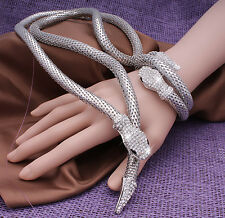 Fashion & Special Silver Snake Sparkly Crystal Bracelet Long Necklace For Women