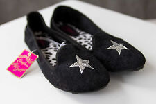 Candies Ballet Flat Black Shoes Silver Star Slide On Size S L XL 5 6 9 10 11 NWT