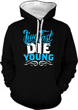 Live Fast Die Young Swag YOLO Hustle Sayings Music Lyrics 2-tone Hoodie Pullover