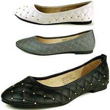 Womens Ballet Flats Ballerina Slippers Leather Lined Slip On Round Toe Shoes New