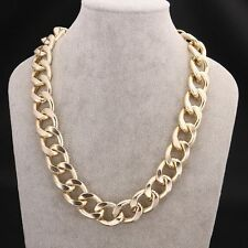 New Fashion METAL GOLD Plated big 2CM chain women men wedding necklace jewelry