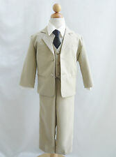 Baby toddler teen Khaki/Taupe/Ivory boy formal suit color long tie wedding party