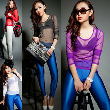 Women Gauze Sheer Tops Slim Sexy Long Sleeve Blouse T-Shirt Party Tops Clubwear