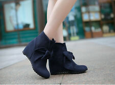 New Popular Women's Faux Suede Hidden Heels Ankle Boots Bowknot Hot Martin Boots
