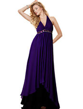Women's Formal Cross Back Beaded Fishtail Train Evening Gown Maxi Tiered Dress