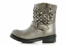 Women's Shoes ASH Ankle Boots TITANIC Bikers 16509 METAL PIOMBO Vintage Studded