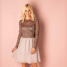 Womens Little Mistress Lace Chiffon Dress In Mocha A Girls Dress